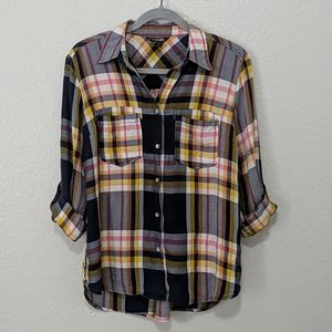 Peyton Jensen Plaid Roll Tab Sleeve Shirt